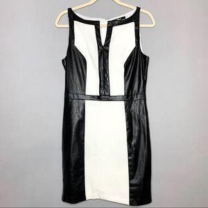 BLACK white and faux leather panel dress sz L